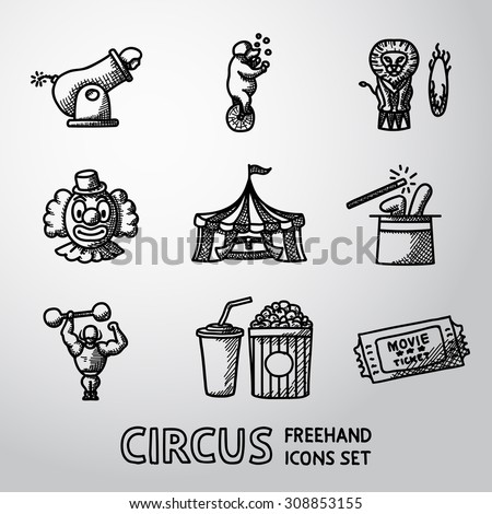 Set of CIRCUS freehand icons with - clown, cannon, bear, lion, magician hat, strongman, ticket, cola and popcorn. Vector - stock vector