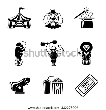 Set of CIRCUS  icons with - clown, cannon, bear, lion, magician hat, strongman, ticket, cola and popcorn. Vector - stock vector