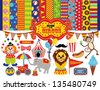 Set of Circus Icons with Patterns. Good for Scrap-booking. - stock vector