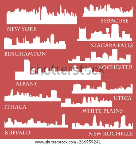 Set of Cities in State of New York (Albany, New York, Buffalo, Ithaca, Syracuse, New Rochelle, White Plains, Rochester, Binghamton, Utica, Niagara Falls) - stock vector