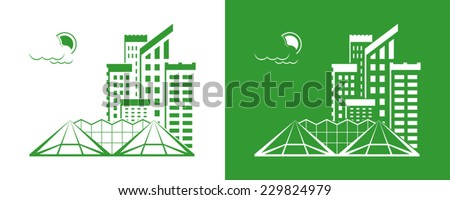 Set of cities silhouette on white and green backgrounds. Vector illustration - stock vector