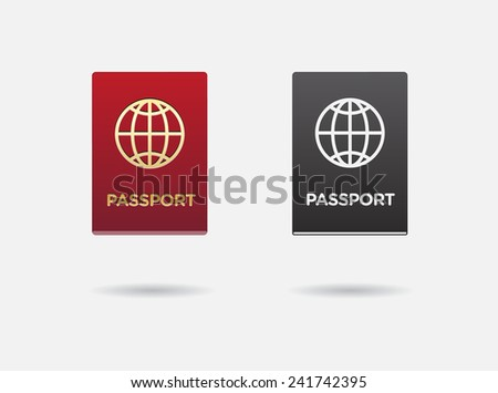 Set of Citizenship or Foreign Passport ID in Vector Colorful Icon can use as Logo - stock vector