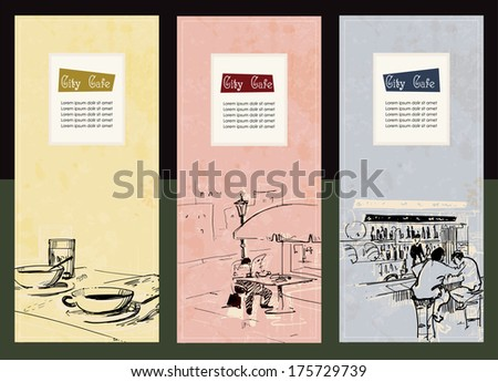 Set of city cafe menu cards - stock vector