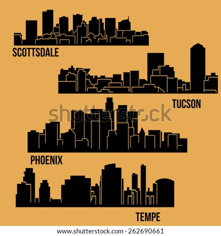 Set of 4 City from Arizona (Phoenix, Scottsdale, Tempe, Tucson) - stock vector