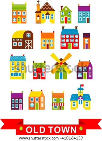 Set of city houses. Colorful houses and other buildings in european style - stock vector