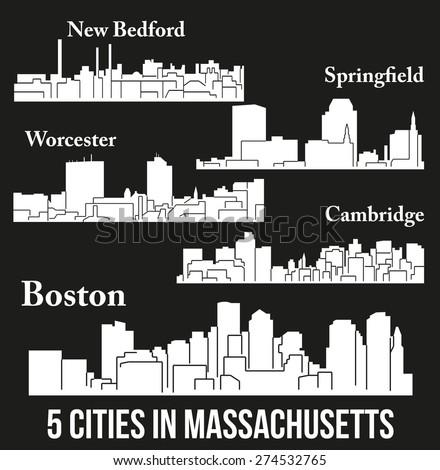 Set of 5 city in Massachusetts ( Boston, Cambridge, Springfield, New Bedford, Worcester ) - stock vector