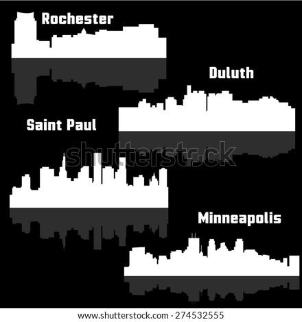 Set of 4 city in Minnesota ( Saint Paul, Minneapolis, Rochester, Duluth ) - stock vector