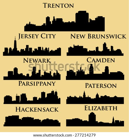 Set of 9 city in New Jersey ( Jersey City, New Brunswick, Newark, Parsippany, Trenton, Paterson, Hackensack, Camden, Elizabeth ) - stock vector
