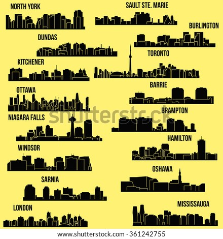 Set of 16 City in Ontario, Canada Toronto, London, Barrie, Kitchener, Ottawa, Brampton, Windsor, Niagara Falls, Oshawa, Sarnia, Hamilton, Mississauga, Dundas, Sault Ste. Maine, Burlington, North York  - stock vector