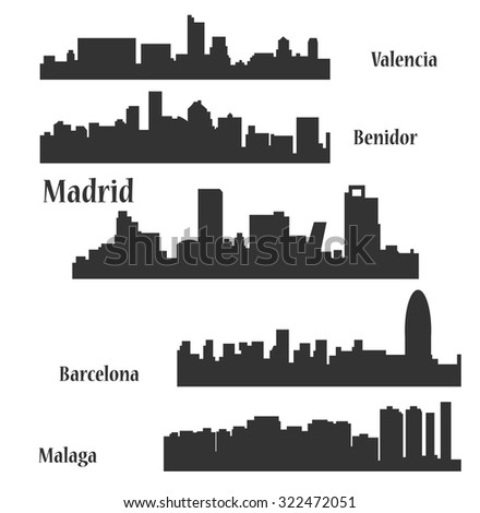 Set of 5 city in Spain (Madrid, Barcelona, Malaga, Benidor, Valencia)