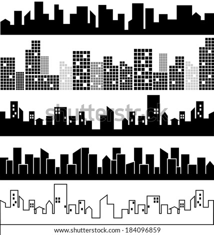Set of city landscapes vector - stock vector