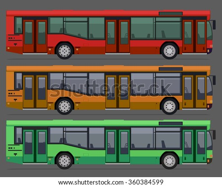set of city public busses. vector illustration