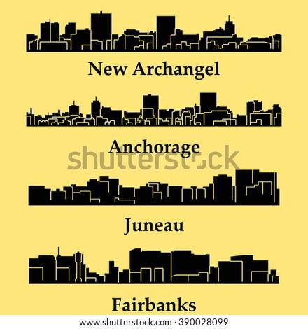 Set of 4 city silhouette in Alaska ( Juneau, Fairbanks, New Archangel, Anchorage ) - stock vector