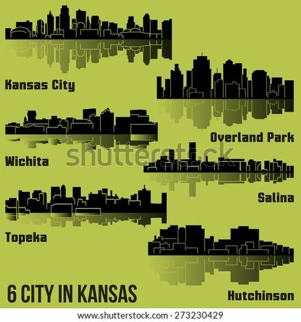 Set of 6 City silhouette in Kansas (Topeka, Salina, Kansas City, Overland Park, Wichita, Hutchinson) - stock vector