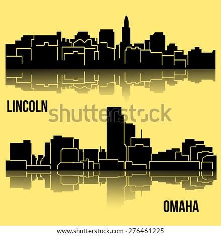 Set of 2 city silhouette in Nebraska ( Lincoln, Omaha ) - stock vector