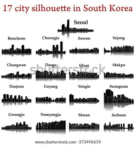 Set of 17 city silhouette in South Korea ( Seoul, Incheon, Ulsan, Goyang, Changwon, Daegu, Suwon, Cheongju, Daejeon, Yongin, Buncheon, Sejong, Mokpo, Masan, Seongnam, Gwangju, Namyangju ) - stock vector