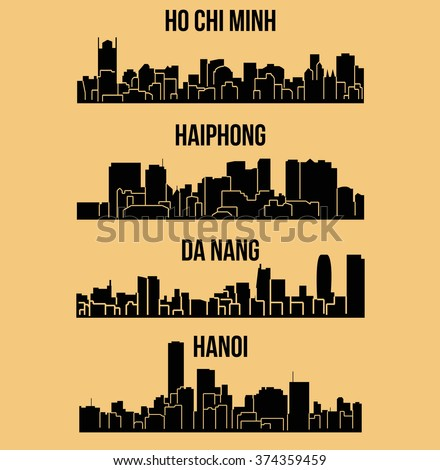 Set of 4 City silhouette in Vietnam ( Ho Chi Minh, Hanoi, Da Nang, Haiphong )
