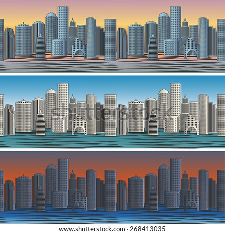 Set of city skylines in morning, afternoon and evening backgrounds seamless. Twilight and business district. Vector illustration - stock vector