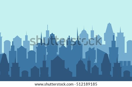 Set of cityscape background. Skyline silhouettes. Modern architecture. Blue urban landscape. Horizontal banner with megapolis panorama. Building icon. Vector illustration