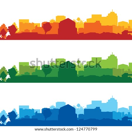 set of cityscapes - stock vector