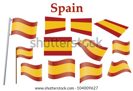 set of civil flags of Spain vector illustration