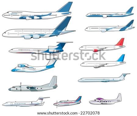 Set of civilian airplanes - stock vector
