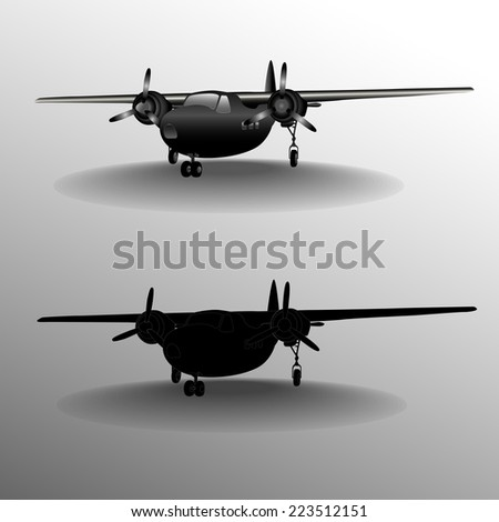 Set of classic airplanes, vintage vector illustration.