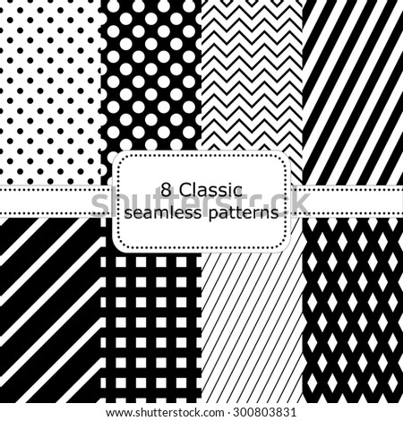 set of 8 classic black - white seamless patterns, polka dot backgrounds, Zigzag, striped, diamonds, squares. Vector illustration. - stock vector