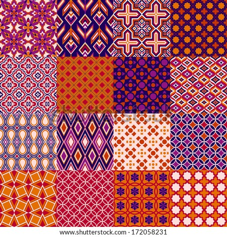 Set of classic bright geometric patterns - stock vector