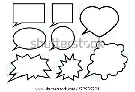 Set of classic empty white speech bubbles black and white - stock vector