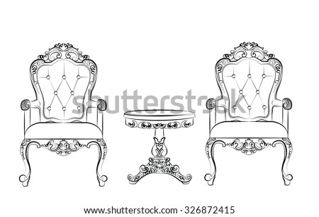 Set of classic furniture with rich baroque ornaments. Vector - stock vector