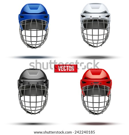 Set of Classic  Ice Hockey Helmet of different colors. Sports Vector illustration isolated on white background. - stock vector
