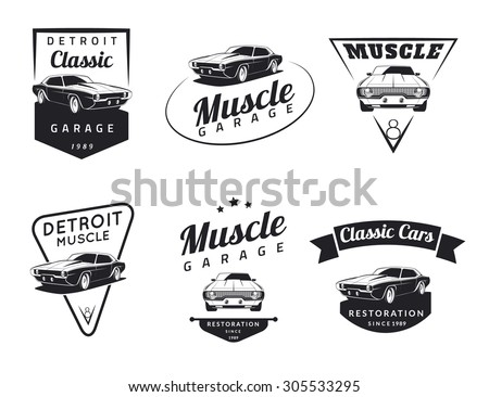 Set of classic muscle car emblems, badges and icons. Service car repair, car restoration and car club design elements. - stock vector