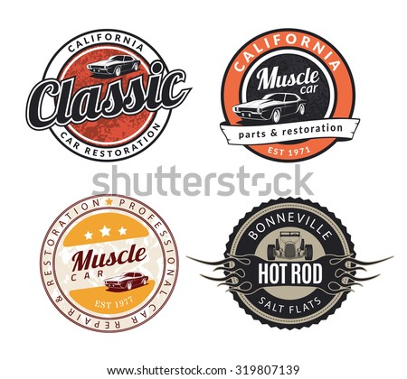 Set of classic muscle car emblems, badges and signs. Service car repair, restoration and car club design elements. Hot rod sign with flame. - stock vector