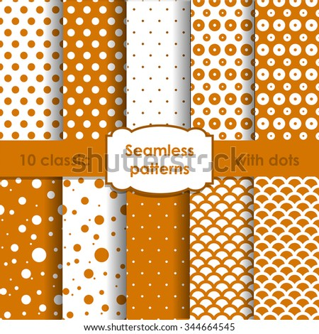 Set of classic orange seamless patterns with dots. EPS10 - stock vector