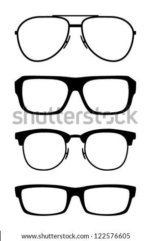Set of classic vector glasses, isolated on white background - stock vector