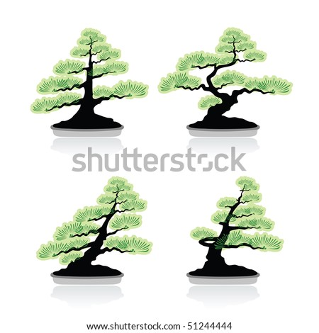 Set Of Classical Bonsai Styles - stock vector