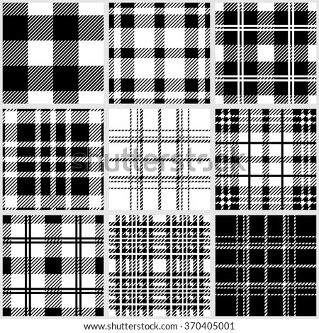 Set of classical checkered black and white seamless patterns. Retro textile collection. Plaids, shirt fabric, tablecloths. Backgrounds & textures shop. - stock vector