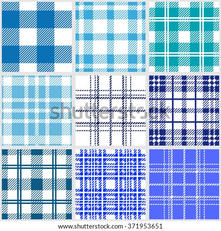 Set of classical checkered seamless patterns. Plaids, tartans, shirt fabric, tablecloths. Retro textile collection. Blue shadows palette.  - stock vector