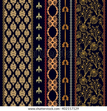 Set of classical damask borders with bohemian motifs. Hand drawn seamless floral pattern, baroque ornaments, French royal lilies. Vintage textile collection. Golden, silver shadows on black.   - stock vector