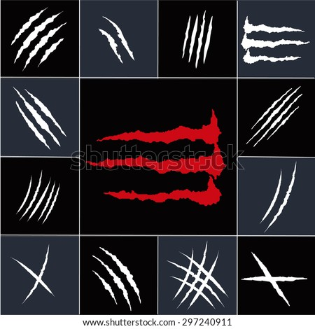 Set of claw scratches, isolated on black background, vector illustration - stock vector