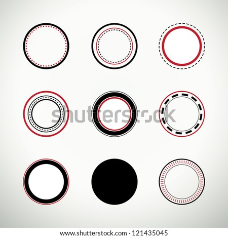 Set of clean round quality stamps in black and red - stock vector
