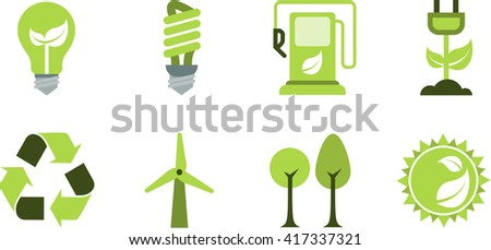 Set of clean simple ecological themed icons, clean energy, energy saving bio fuel, renewable energy, recycling, wind power, trees/environment and solar symbols. - stock vector