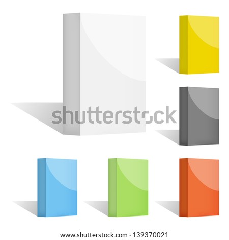 Set of clean vector color blank 3d boxes with shadows - stock vector