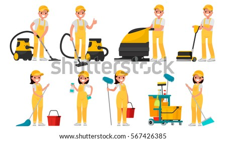Set of cleaning company staff to work with the equipment. A man with a vacuum cleaner and scrubber. Woman with buckets and mops. Vector illustration in a flat style