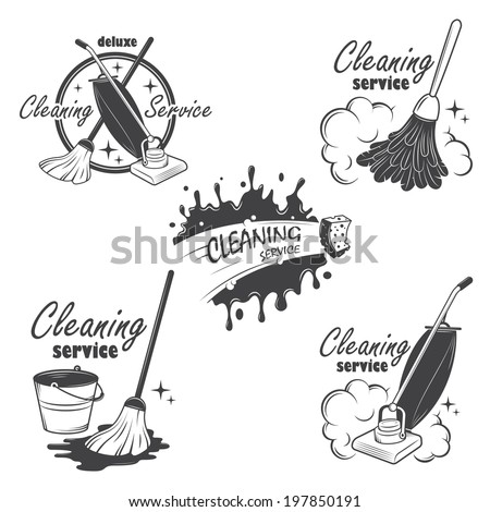 Set of cleaning service emblems, labels and designed elements. - stock vector
