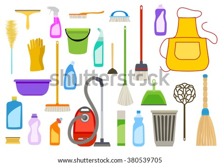 Set of cleaning supplies. Tools of housecleaning. Vector - stock vector