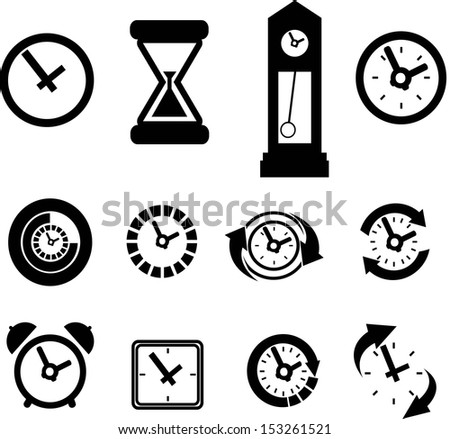 set of clock icons - stock vector