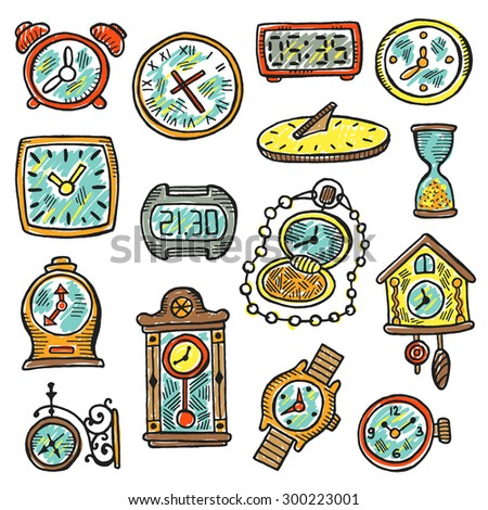 Set of clocks and watches. Hand drawn vector illustration. Clock's element for your design. Sundial, sand glass, watches clocks, antique watch, wristwatch, pocket watch, cuckoo clock and other. - stock vector