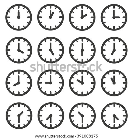 Set of clocks for every hour - stock vector